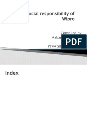 Corporate Social Responsibility of Wipro New