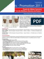 Resultats Concours MOF 2011 - Classe Charcutier-Traiteur et Traiteur