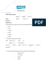 Aavin Questionnaire