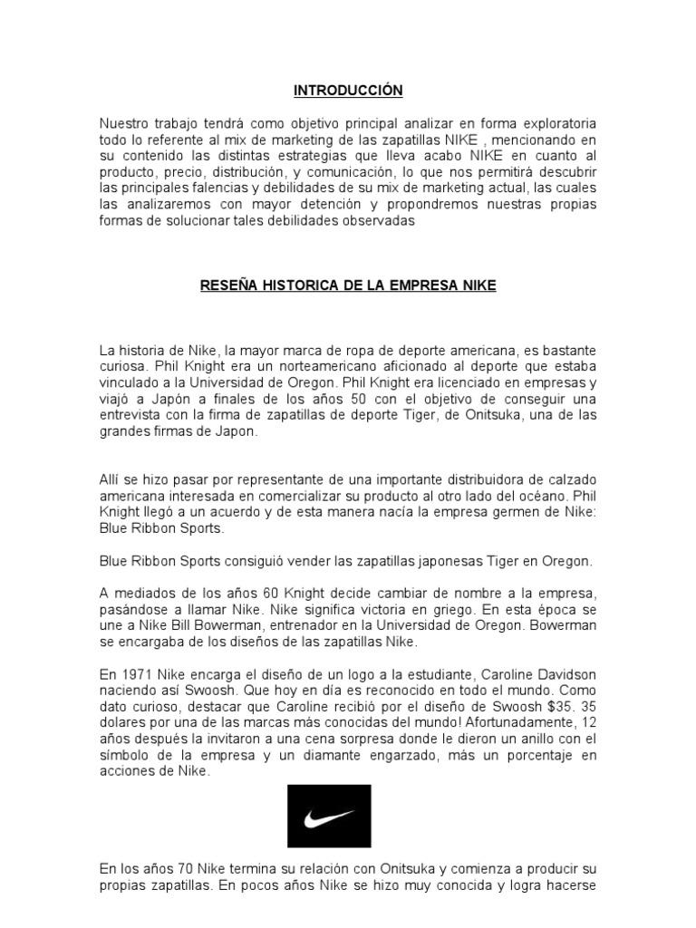 calidad enaguas Deducir  EMPRESA EXITOSA NIKE   Nike   Producto (Negocio)