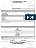 MCAT Application Form