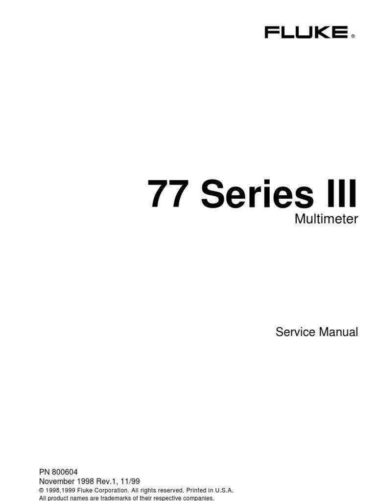 fluke 77 series iii service manual analog to digital converter rh scribd com fluke service manual 1883791 fluke 8800a service manual
