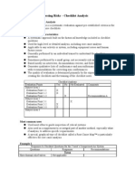 Summary Checklist Analysis