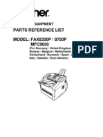 Brother Fax 8350p 8750p Mfc-9650 Parts Manual