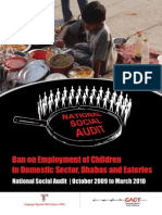 Ban on Employment of Children in Domestic sector and Roadside Eateries/Restaurants - A National Social Audit