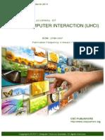 International Journal of Human Computer Interaction (IJHCI) Volume 2 Issue 1