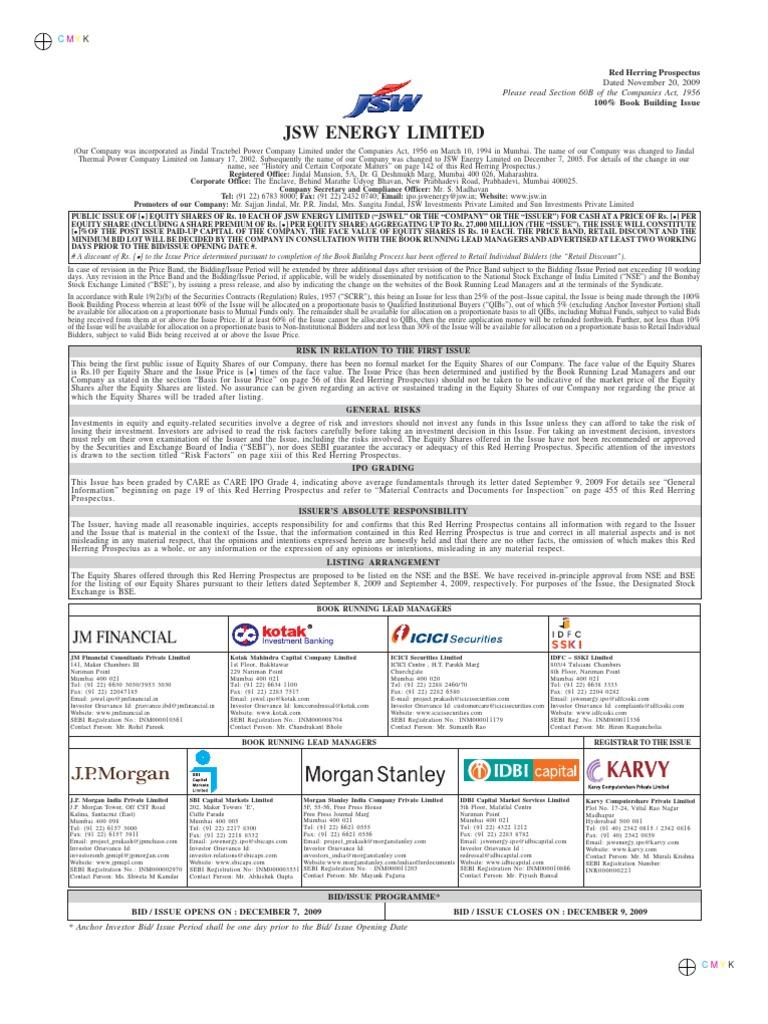 Jsw energy ltd rhp final securities act of 1933 stocks fandeluxe Image collections