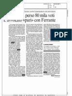 """IL SINDACO HA PERSO 80 MILA VOTI L'AVVOCATO """"PARI"""" CON FERRANTE  (CORRIERE DELLA SERA MILANO)"""