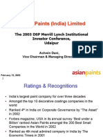 Asian Paints Analyst Briefing