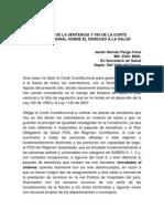 Análisis Sentencia Corte Constitucional Derecho a la Salud