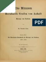 Die Münzen Bernhards Grafen von Anhalt, Herzogs von Sachsen. 2. H.