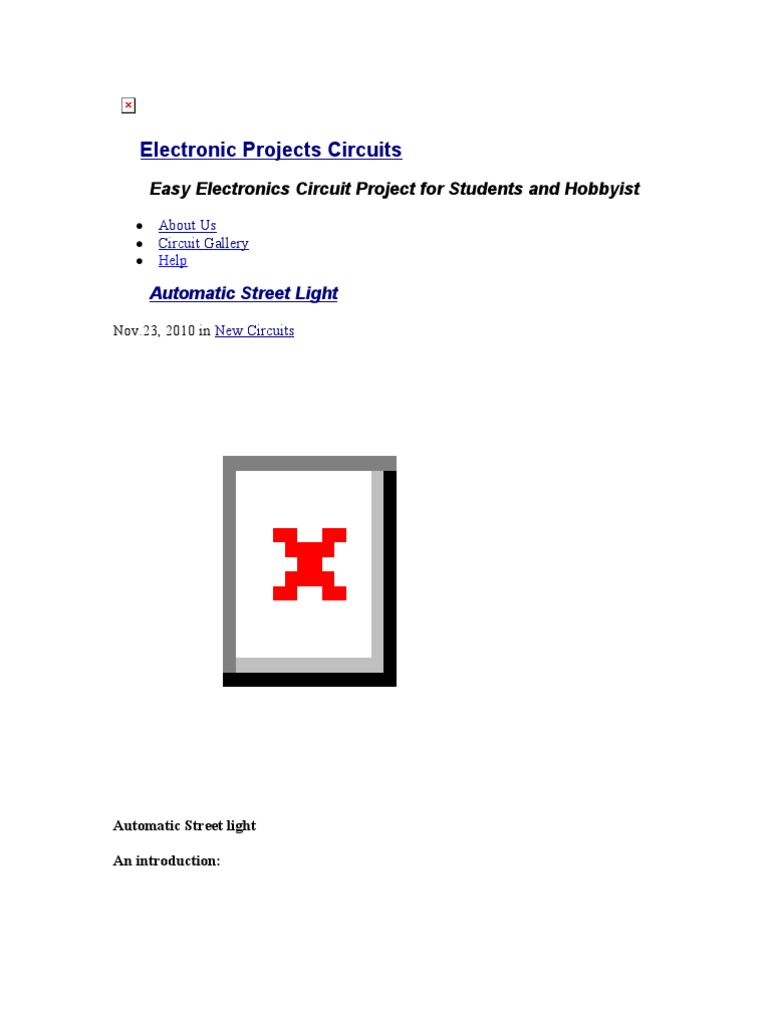 Automatic Street Light Resistor Electrical Resistance And Electronics Circuit Symbols Project Circuts Conductance