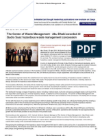 The Center of Waste Management - Abu Dhabi Awarded Al Qudra Suez Hazardous Waste Management Concession