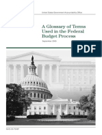 Glossary of terms used in the federal budget process