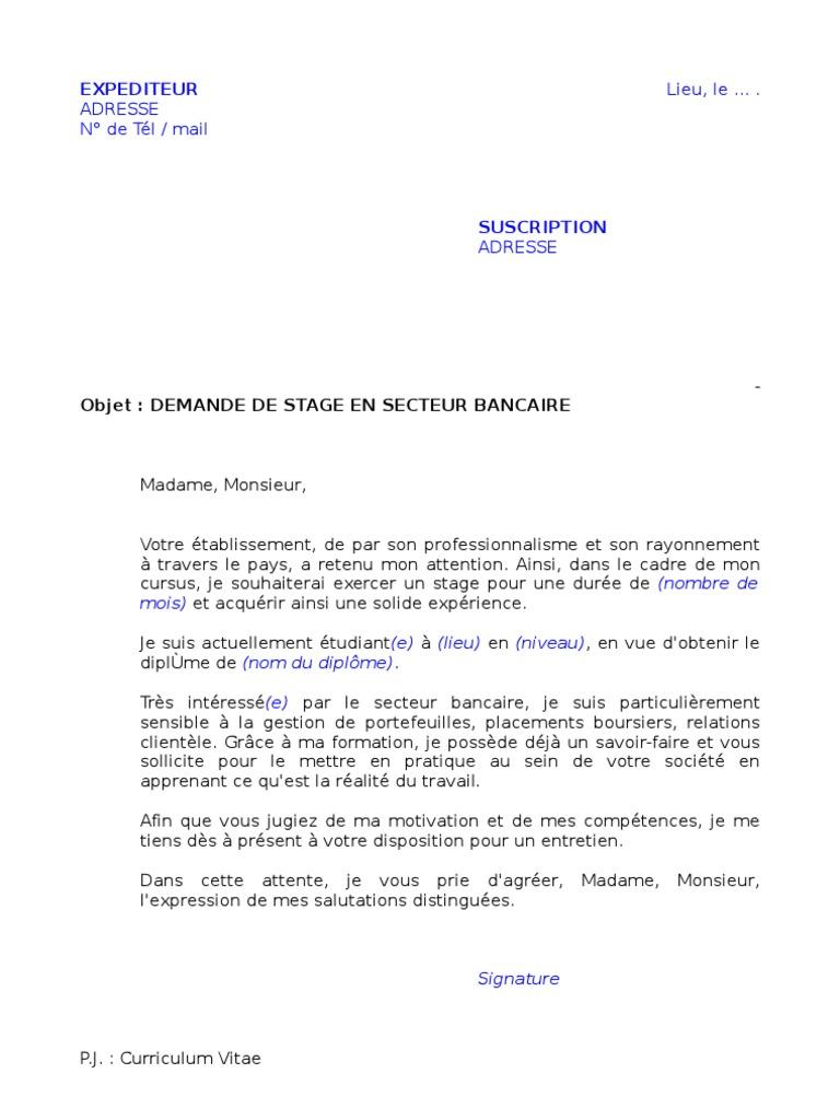Demande Stage Secteur Bancaire