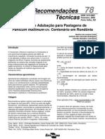 Calagem e Adubação de Pastagens de Panicum maximum cv. Centenário