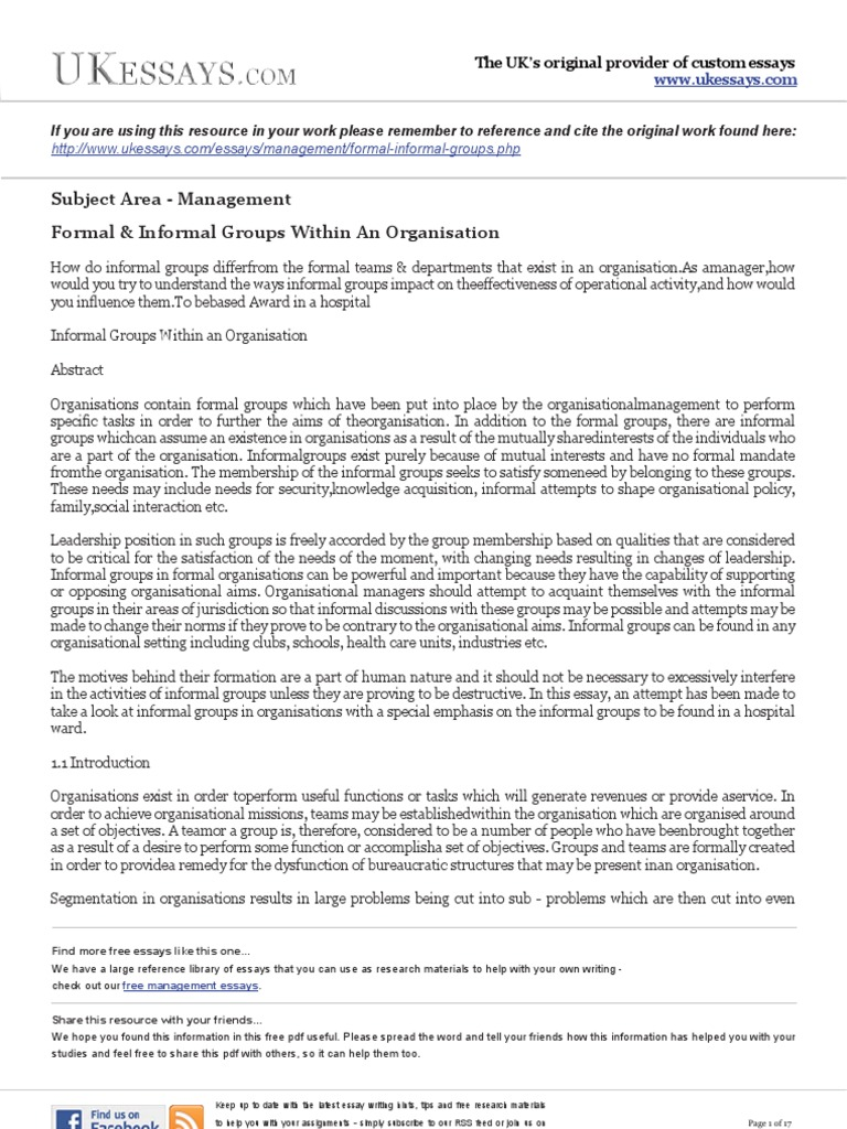 management essays formal and informal groups