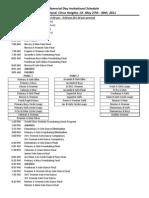 2011 Sunrise Memorial Schedule