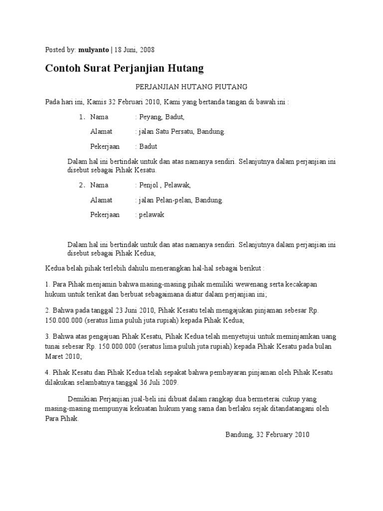 Contoh Surat Pernyataan Hutang Sederhana Simak Gambar Berikut