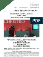 Geneva Spring 2011 Auctions - Post-Sales RELEASE