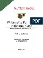 MRKT 655- Individual Written Case- Willamette Furniture-Feb 2011