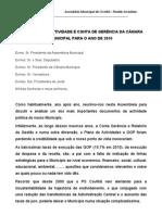 RELATÓRIO DE ACTIVIDADE E CONTA DE GERÊNCIA DA CÂMARA MUNICIPAL PARA O ANO DE 2010