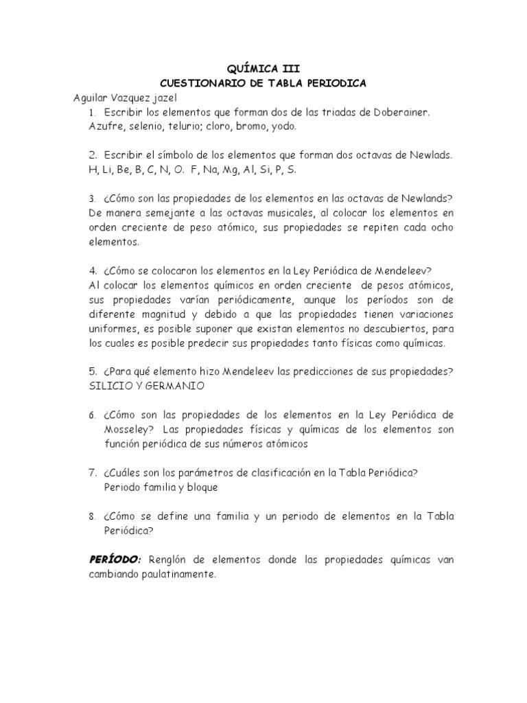 Cuestionario tabla periodica urtaz Choice Image