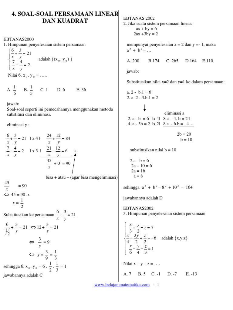 4 Soal Soal Persamaan Linear Dan Kuadrat
