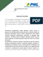 Comunicat de Presa PNL Bucuresti - Reactie Traian Basescu - 19 Mai 2011