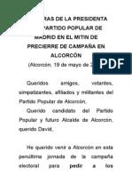Palabras de Esperanza Aguirre en el mitin de Alcorcón 19 de mayo