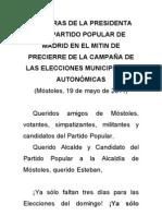 Palabras de Esperanza Aguirre en el mitin de precierre de campaña en Móstoles 19 de mayo