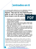 Nota de prensa del mitin de precierre de campaña en Móstoles 19 de mayo