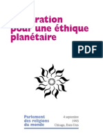 déclaration pour une éthique planétaire -Parlement des religions du monde 1993