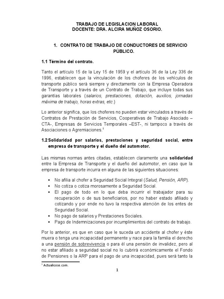 Contrato De Choferes De Servicio Publico Familiar Y