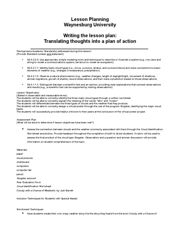 Lesson Plan 2 Cloud Educational Assessment