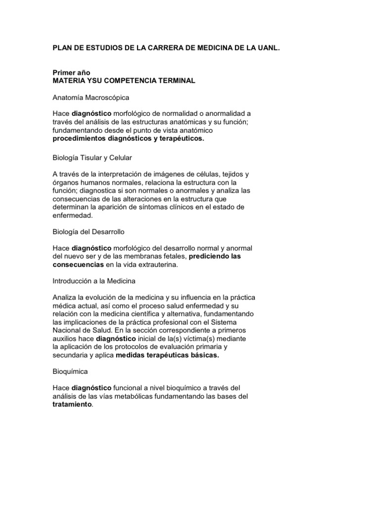 Plan de Estudios de La Carrera de Medicina de La Uanl