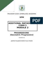 Addition Mathematics Form 5 Geometry Progression Module 2