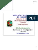 Charla 01 SeminariosMSc PhD 2010