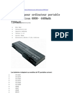 Batterie Pour Ordinateur Portable Dell Inspiron 6000- 4400mAh 7200mAh