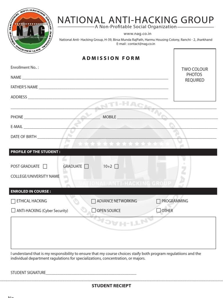 Admission Form | Computing | Technology