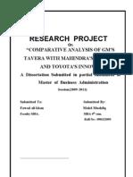 Comparative Analysis of Gm's Tavera With Mahindra's Scorpio and Toyota's Innova