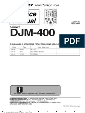 Pioneer DJM-400 Service Manual | Electrical Connector | Microphone