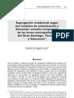 Segregacion Residencial Segun Dos Modelos de Urbanizacion y Bienestar Comparacion Chile, Canada, EE. UU. Camilo Arriagada Luco. CEPAL