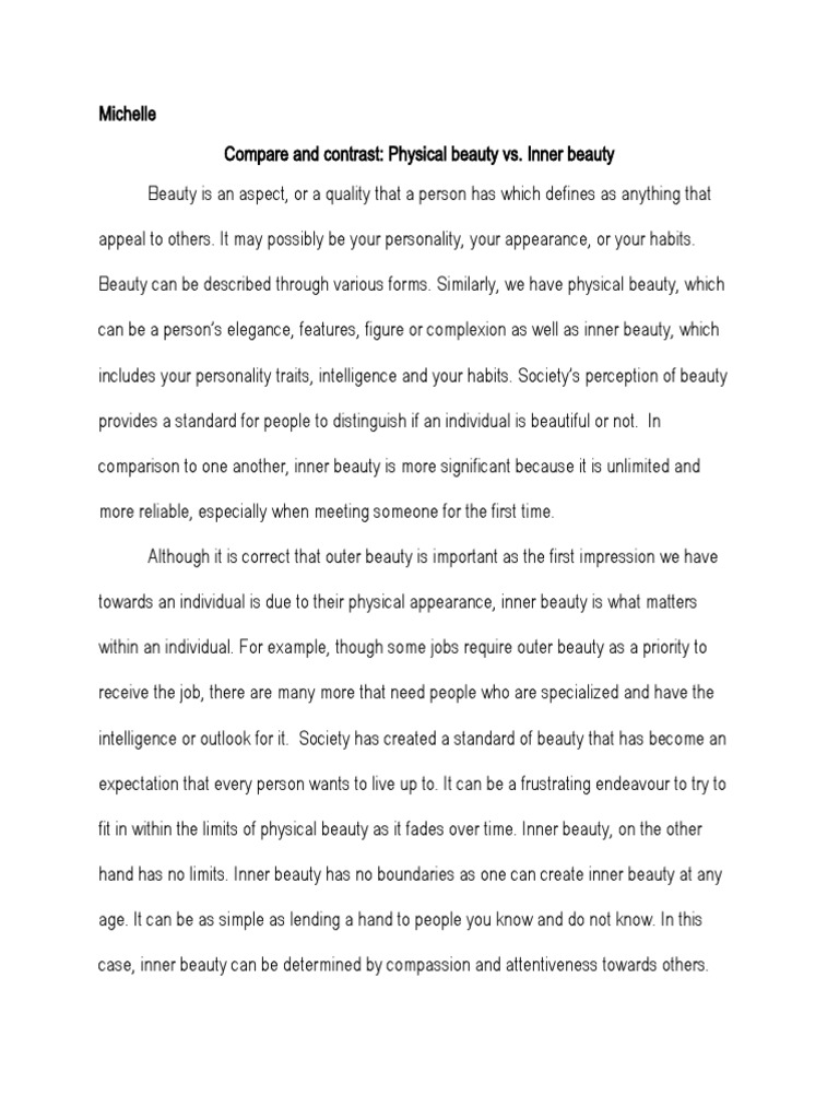 Essay On Inner Beauty Vs Physical