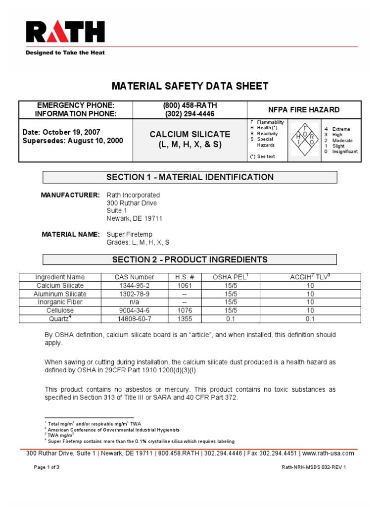 Calcium Silicate Sheet : Calcium silicate msds hypothermia