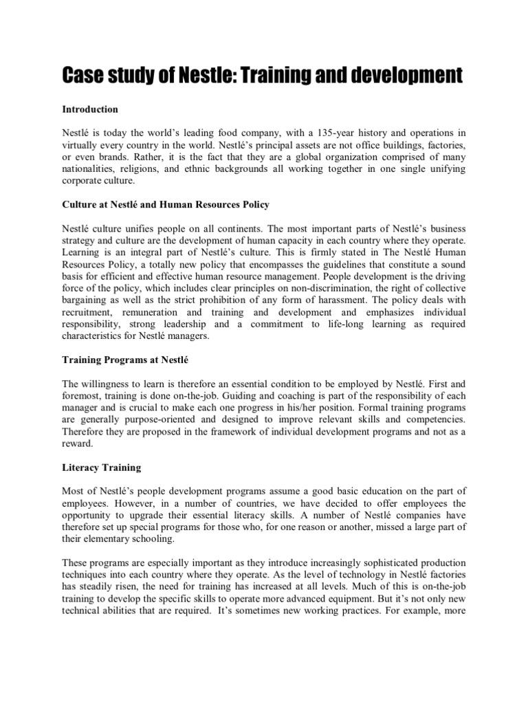 Case Study of Nestle   Apprenticeship   Human Resource Management