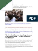 Peineta de Federico Trillo y The New York Times atribuye las protestas a la corrupción, alude a Camps y le compara con Berlusconi