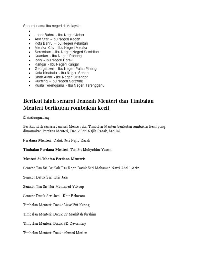 Senarai Nama Ibu Negeri Di Malaysia