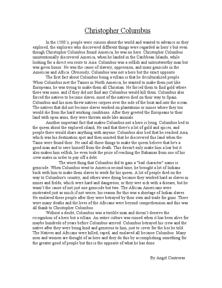 christopher columbus research essay This christopher columbus essay uses both primary and secondary sources to understand the objective of columbus and its aftermath.