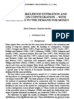 Maximum Likelihood Estimation and Inference on Cointegration--With Applications to the Demand for Money